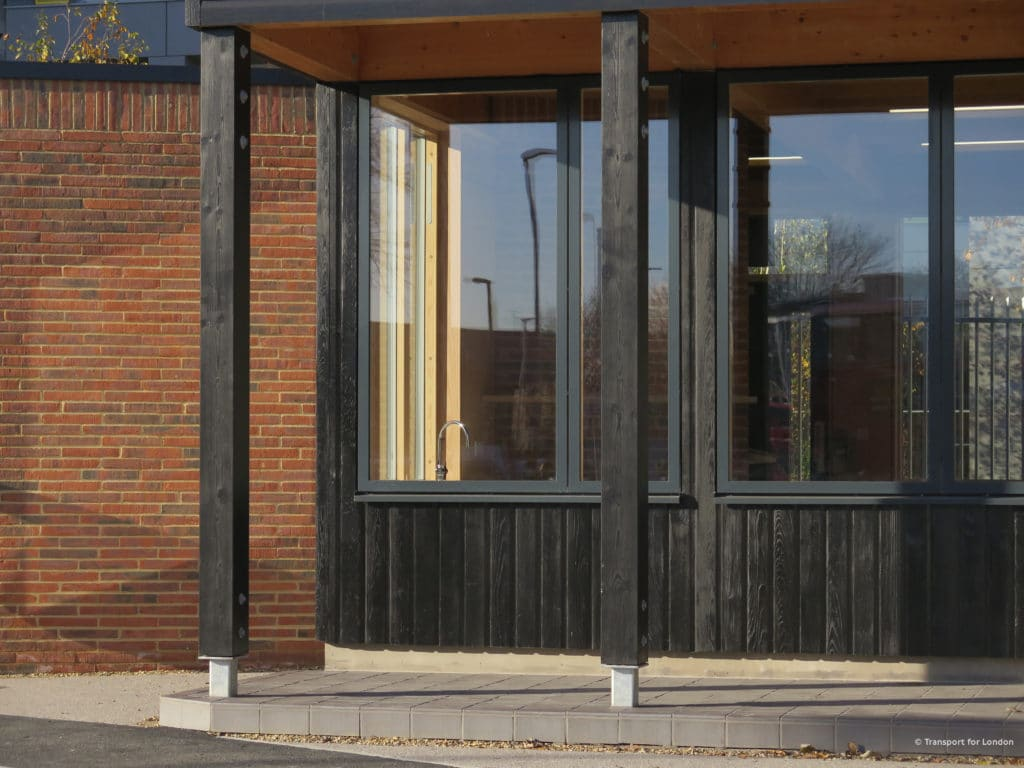 Close up of Shou Sugi Ban cladding used on the 'Coffee Bean' shop in Maidenhead