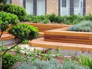 Commercial hardwood bench at Kew Bridge