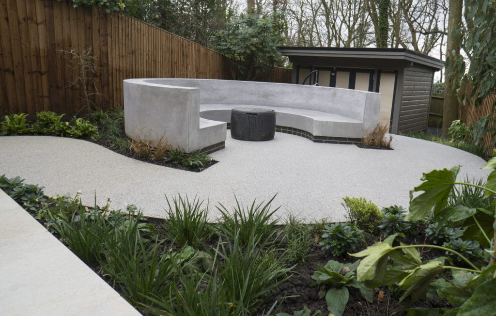A curved garden design and landscaping in harrow