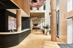 Interior Charred Cladding for The Collective Canary Wharf